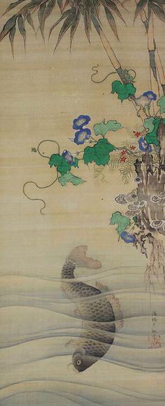 Antiguo arte japonés del colgante de pared desplazamiento carpas Koi peces y Morning Glory pintura Kakejiku – 1409058