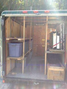 How do troops keep their troop trailers organized? Work Trailer, Trailer Plans, Trailer Build, Trailer Shelving, Trailer Storage, Truck Storage, Trailer Organization, Camping Organization, Workshop Organization