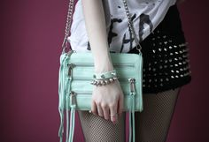 Rebecca Minkoff mini 5 zip bag in mint green