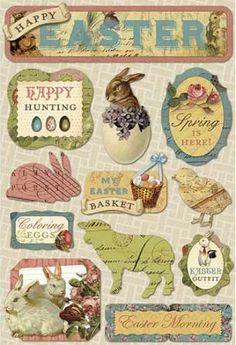 Stick it old school. Vintage Easter stickers.