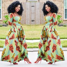 African Clothing Maxi Dress Ankara Print Maxi Dress by Veroexshop ~African fashion, Ankara, kitenge, African women dresses, African prints, African men's fashion, Nigerian style, Ghanaian fashion ~DKK