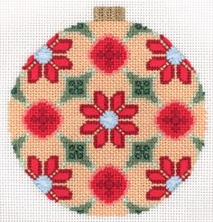 Peach Florentine Bauble needlepoint ornament. Stitched by Joan Lohr. Canvas by Kirk & Bradley.