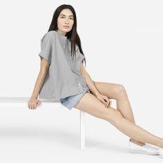 The Striped Cotton Poplin Square Shirt - Everlane