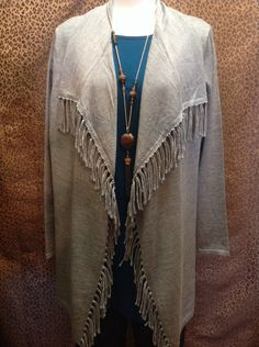 Color Works  - Grey open front sweater with fringe - $92