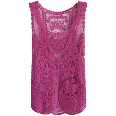 Zanzea Lace Floral Sleeveless Crochet Knit Vintage Vest - US$9.39 ($50) ❤ liked on Polyvore featuring tops, banggood and shirts