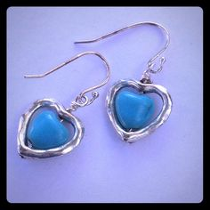 925 SS Turquoise Heart Earrings Silver heart with turquoise heart. Handmade with sterling silver hooks. New! Cindylou's Design Jewelry Earrings