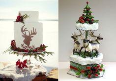 Wedding Cake Design Inspiration & Tutorials Archives - Page 6 of 35 - Cake Geek Magazine Christmas Cakes Images, Christmas Cake Designs, Christmas Deserts, Christmas Cake Decorations, Holiday Cakes, Christmas Foods, Christmas Cooking, Wedding Cake Rustic, Beautiful Wedding Cakes
