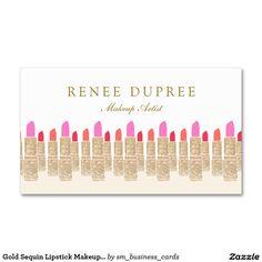 Gold Sequin Lipstick Makeup Artist Beauty Salon 5 Double-Sided Standard Business Cards (Pack Of 100)