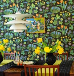 This wallpaper would be overwhelming on every wall of a room, but on one wall, it would be enchanting.