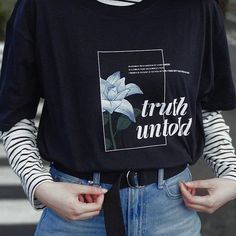 Truth Untold T-Shirt · cerulean · Online Store Powered by Storenvy Source by SpotofTae Kpop Outfits, Retro Outfits, Grunge Outfits, Fashion Outfits, Fashion Goth, T Shirt Fashion, Gypsy Fashion, Cyberpunk Fashion, Womens Fashion