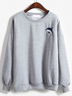 Round Neck Dolphin Embroidered Sweatshirt -SheIn(Sheinside)