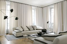 A French apartment by Maison Hand My Living Room, Living Room Interior, Home And Living, Living Room Decor, Living Spaces, Floor To Ceiling Curtains, Home Curtains, Floor Lamp, Modern Interior