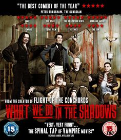 What We Do In The Shadows Directed by Jemaine Clement and Taika Waititi. Starring Jemaine Clement, Taika Waititi, and Jonathan Brugh. Peliculas Western, Jemaine Clement, Flight Of The Conchords, Sci Fi Horror Movies, Taika Waititi, Uk Tv, Tv Guide, Book Of Shadows, Girl Interrupted