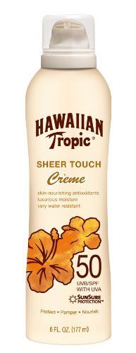 Hawaiian Tropic Sheer Touch Crème Sunblock Lotion SPF50, 6-Fluid Ounce Bottles (Pack of 3) by Hawaiian Tropic. $19.99. Very water resistant. Luxurious moisture. New and improved signature tropical coconut scent. This item is not for sale in Catalina Island. Skin-nourishing antioxidants. Sheer Touch Crème Lotion SPF 50 for protection.  Indulgent Crème Lotion Products provide a luxurious, highly moisturizing, pampering ribbon of lotion to give skin a uniquely ind...