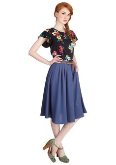 Breathtaking Tiger Lilies Skirt in Blue. This morning, a bundle of bright flowers was waiting at your door. #blue #modcloth