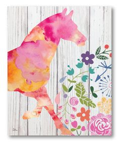 Look what I found on #zulily! Pink Pony Wrapped Canvas by Courtside Market #zulilyfinds