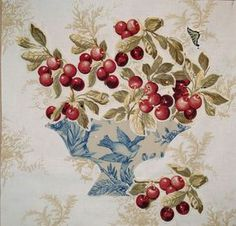 Toile bowl with cherries. By Darla Hanks.