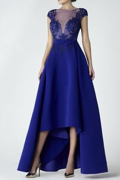 SK by Saiid Kobeisy Blue A Line High Low Evening Gown | Poshare Saiid Kobeisy, Liberty Blue, Bateau Neckline, Cap Sleeves, Designer Dresses, Bodice, High Low, Evening Dresses, Wedding Dresses