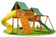 """Designated Play Area from """"Organized Outdoor Play Areas"""" Patio Swing Set, Diy Projects And Organization, Kids Gym, Outdoor Play Areas, Jungle Gym, Gym Design, New View, Outdoor Entertaining, Play Houses"""