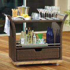 outdoor serving table with storage | Outdoor Serving Cart