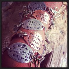 Hand stamped bracelet with mixed metal chains by MamaDramaJewelry, $36.00