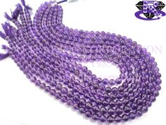 Amethyst (African) Smooth Round (Quality AA) Shape: Round Smooth Length: 36 cm Weight Approx: 18 to 20 Grms. Size Approx: 6.00 to 6.50 mm Price $11.40 Each Strand