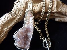 Freeform Agate  Druzy Pendant with Sterling Silver by carolesart, $270.00