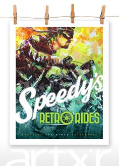 SPEEDY'S RETRO RIDES 16x20 Poster Print Motorcycle by artxr