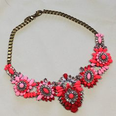 Neon pink and red colored rhinestone collar statement necklace