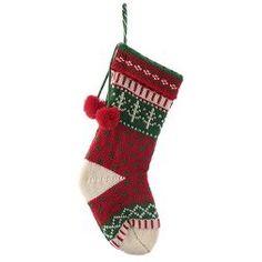 "20"" Red/Green/White Knit Fair Isle Christmas Stocking - Wondershop™"