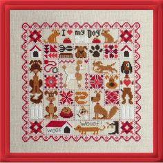 modèle de broderie point de croix patchwork aux chiens - jardin privé