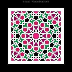 12-fold ; Abdelhalim Ghodbane Islamic Art Pattern, Arabic Pattern, Mandala Pattern, Mosaic Patterns, Pattern Art, Geometric Art, Geometric Designs, Arabic Calligraphy Design, Turkish Art