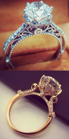 rose gold and diamand engagement ring ideas~I'm not princessy at all but this ring is just stunning!
