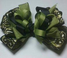 green and black hair bow Over the top  boutique style hair