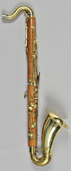 Bass clarinet in C (prototype), simple system, body in boxwood, brass rings, bell and keys (Buffet Crampon 1885)