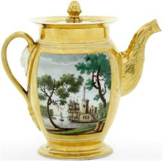 A porcelain coffee pot by the BATENIN FACTORY, ST PETERSBURG, circa 1820