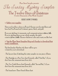 The Twelve Days of Christmas ornaments or sampler