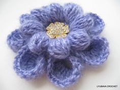 Instant Download Tutorial Pattern Crochet Mohair Brooch Gorgeous Flower 8 Petals 2 Layers, Cluster Stitch