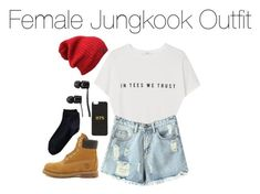 """Female Jungkook Outfit"" by kookiechu ❤ liked on Polyvore featuring MANGO, Chicnova Fashion, Timberland, Lands' End and Vans"