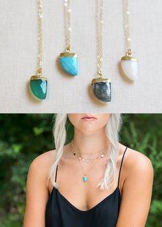 Tiny Gemstone Horn Necklace | Green Onyx