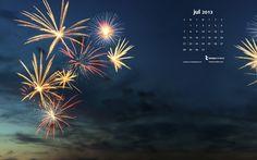 #Fireworks July Desktop #Calendar