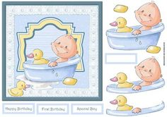 Baby bath time card with decoupage on Craftsuprint designed by Angela Wake - Baby bath time card with decoupage and sentiment tags - Now available for download!
