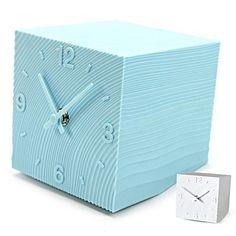 Cube Grained Table Clock light blue