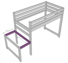 Camp Loft Bed with Stair, Junior Height - Site with loads of plans to build stuff Loft Bed Stairs, Build A Loft Bed, Loft Bed Plans, Bunk Beds With Stairs, Cool Bunk Beds, Murphy Bed Plans, Loft Beds, Small Closets, Loft Spaces