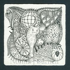 From www.wonderwhiskers.com, Halloween Tangle 1   3.5 x 3.5 inches ink & graphite on Zentangle paper tile.