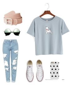 """How to wear A comfy cute outfit!"" by ava-duluc ❤ liked on Polyvore featuring Topshop, Converse and Revo"