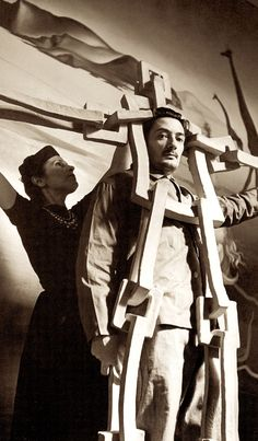 "SALVADOR DALI & his wife GALA setting up SALVADOR DALI'S 'DREAM OF VENUS"" funhouse pavilion for adults only. At The 1939 World's Fair. from the book Salvador Dali's Dream of Venus: The Surrealist Funhouse by Ingrid Schaffner with Photos by ERIC SCHAAL. 2002 (please follow minkshmink on pinterest)"