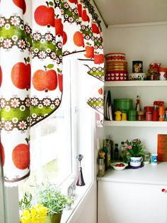 Curtains are awesome but not sure if that pattern and style would work for what . Curtains are awesome but not sure if that pattern and style would work for what I'm looking for. Happy Kitchen, Cute Kitchen, Red Kitchen, Vintage Kitchen, Beautiful Kitchens, Beautiful Interiors, Kitchen Decor Themes, Home Decor, Kitchen Ideas