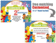 Sesame Street Party - Birthday - CUSTOMIZED DIY PRINTABLE Invitation and Thank You Note