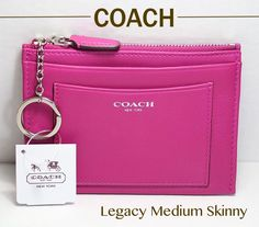 NEW COACH Legacy LEATHER Medium Skinny Wallet 48030 : Silver : Bright Magenta -- WAS $68 plus tax...NOW $52.99 plus FREE SHIP. BUY NOW.